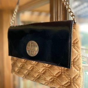 Kate Spade Black Patent & Cork Shoulder Bag